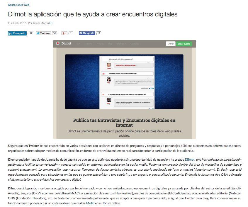 Loogic publica acerca de Dilmot, la aplicación de encuentros digitales