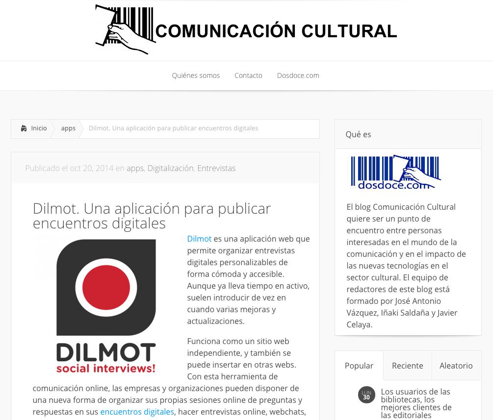 Dilmot destacado en el blog Comunicación Cultural