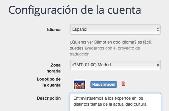 Configuración de cuenta Dilmot