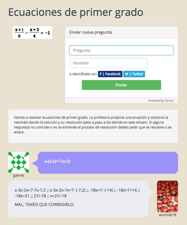 Ejemplo de tutoría de matemáticas utilizando Dilmot.com