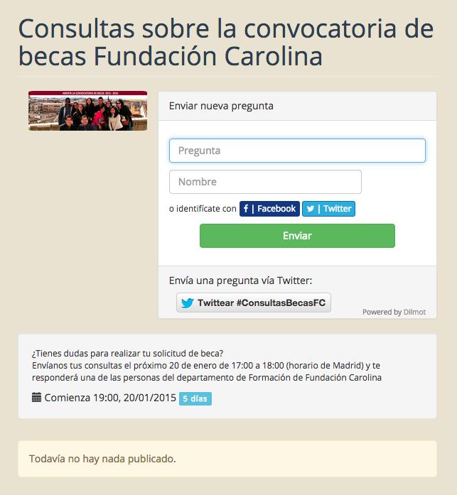 Página de consultas hecha con Dilmot.com