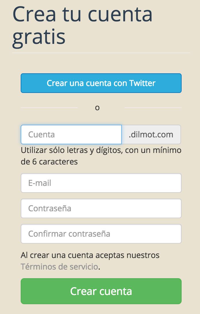 Crear cuenta en Dilmot usando Twitter
