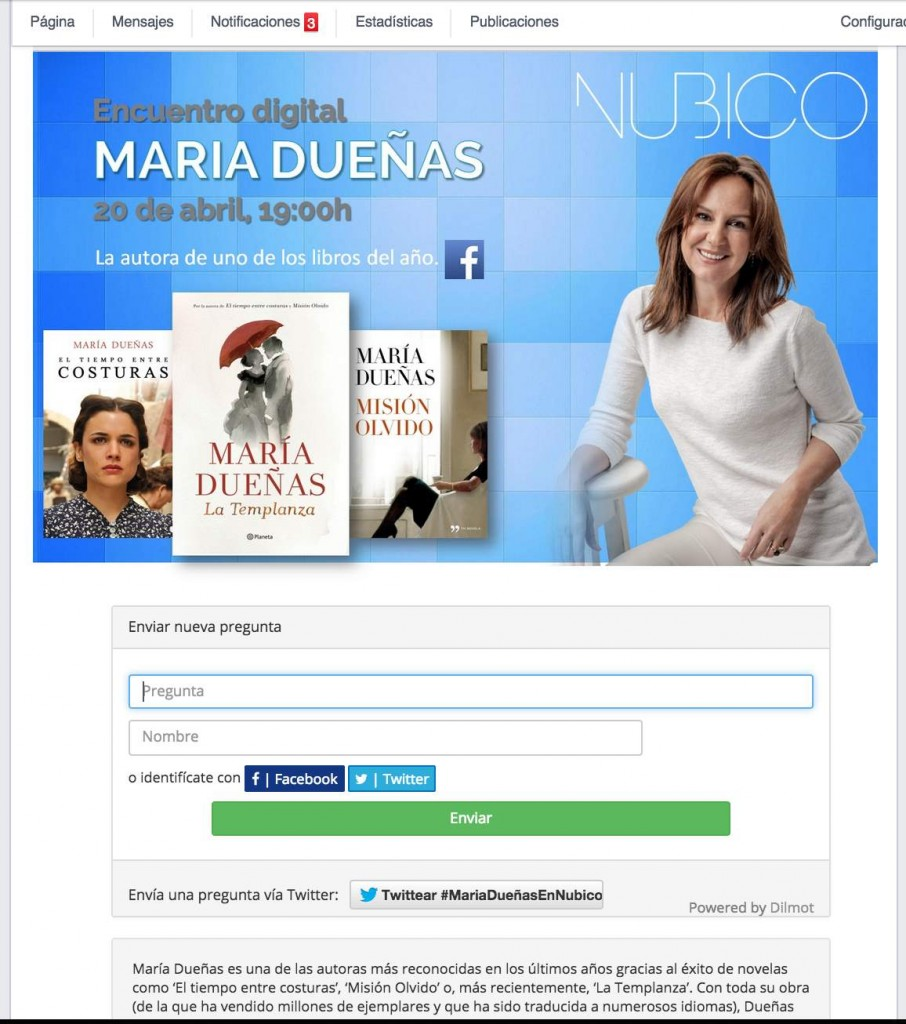 Marketing editorial: Encuentros digitales con escritores, en este caso con María Dueñas