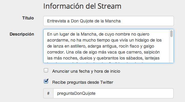 Entrevista a Don Quijote de la Mancha en Twitter, usando Dilmot.com
