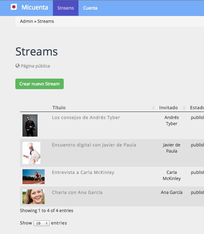 Listado de streams en la cuenta Dilmot