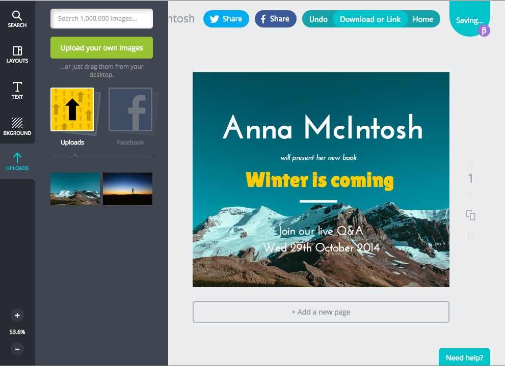 Customize the Canva template to put your own image