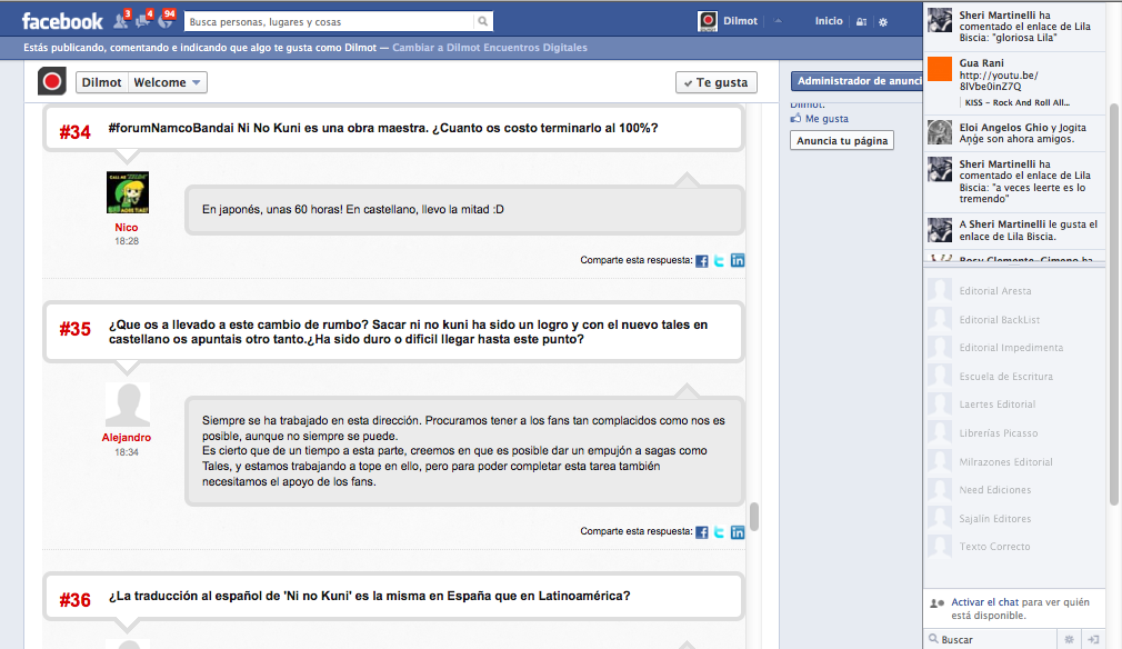 A Dilmot Q&A session web interview inside Facebook iFrame