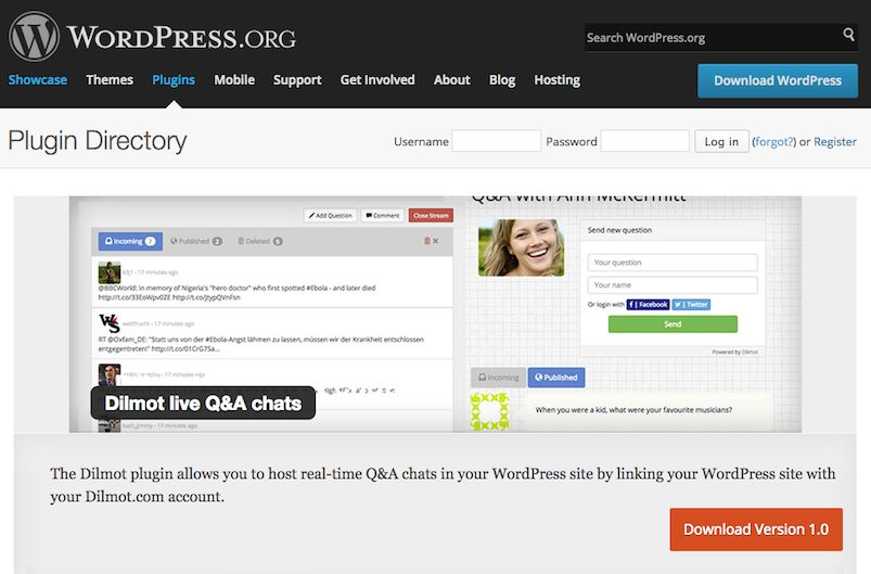 Organise a live Q&A chat easily inside your WordPress install using Dilmot Plugin