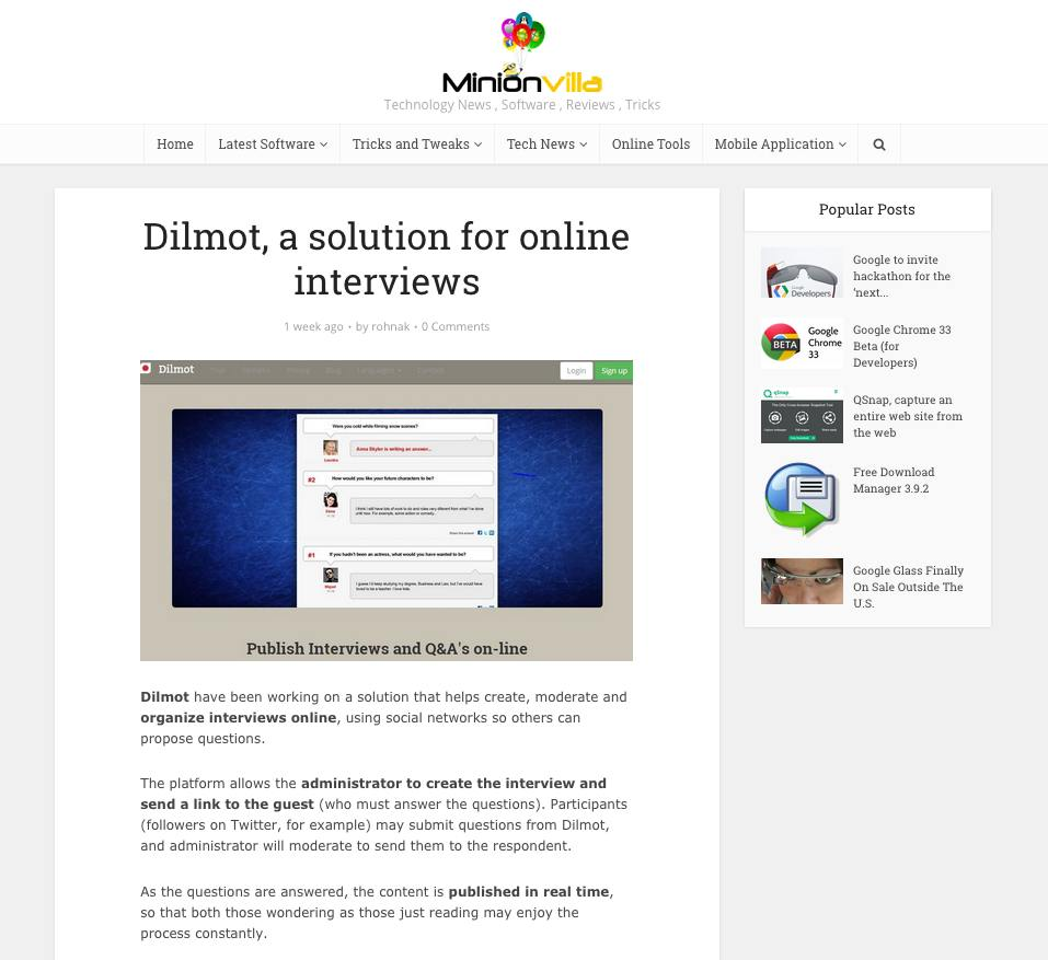 Dilmot featured in MinionVilla blog
