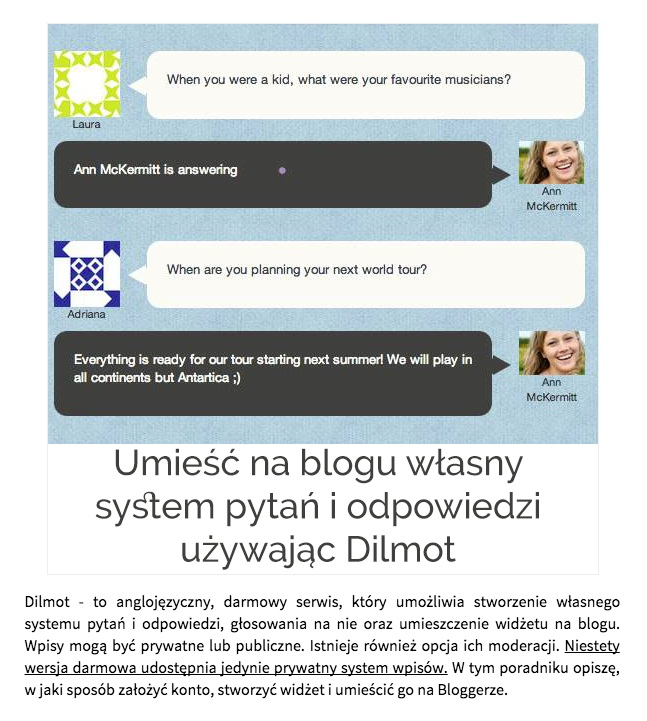 Dilmot Q&A app featured in Blokotek (Poland)