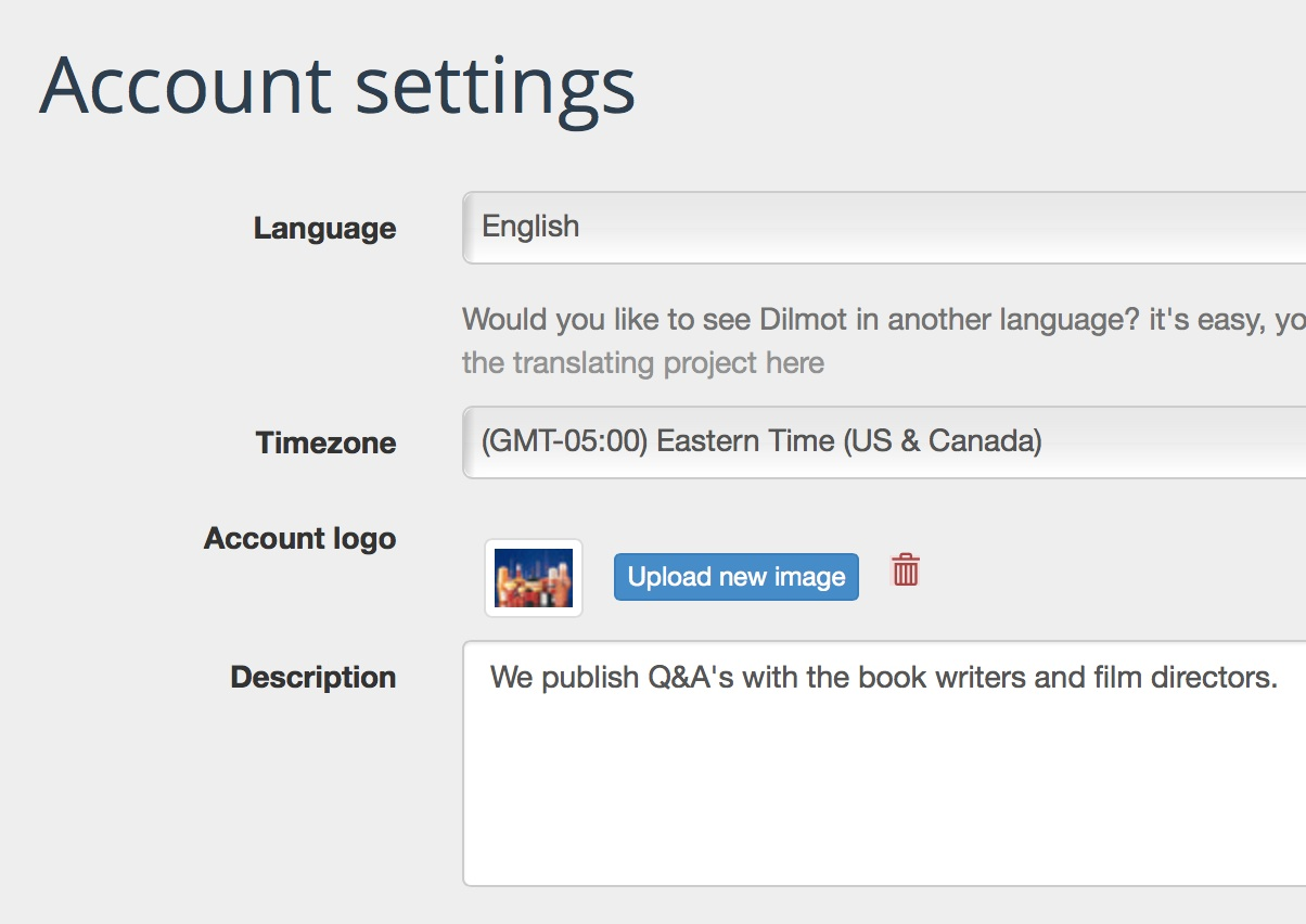 Dilmot account settings