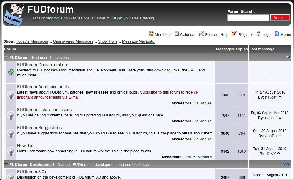 Example of a traditional forum software