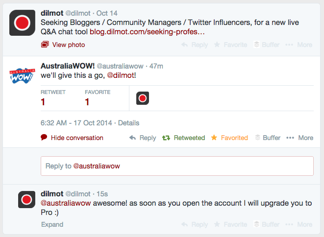 Twitter chat between Dilmot and a new user coming from Australia