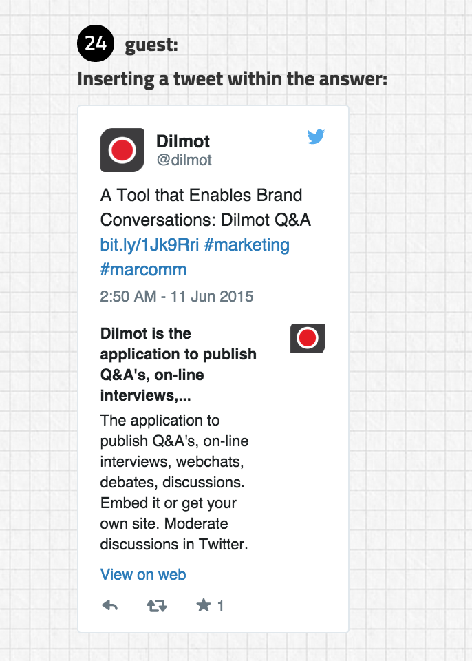 Embed a tweet inside a Dilmot Q&A session