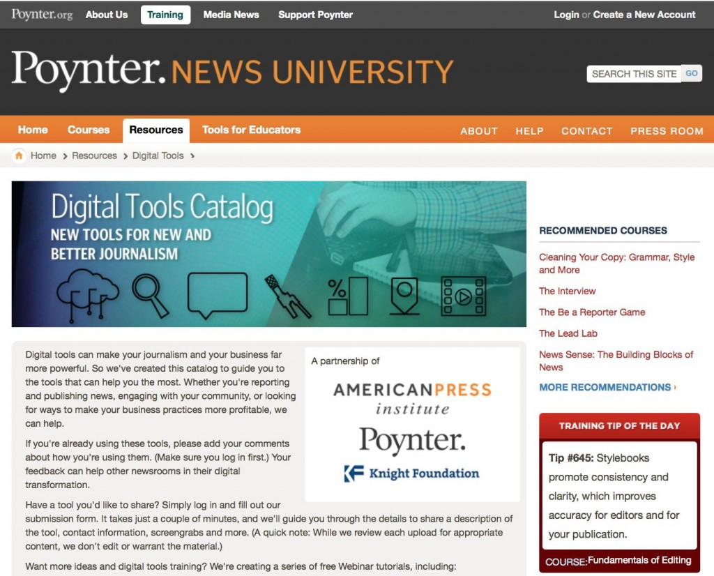 Poynter list of digital tools for journalists