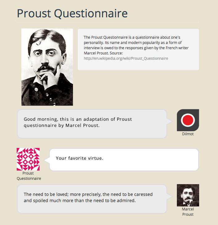 Proust questionnaire layout by Dilmot