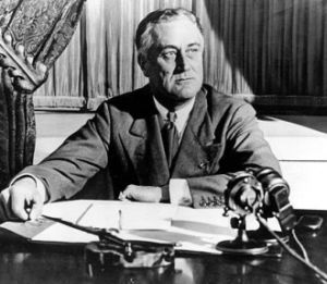 Roosevelt addressing the nation in the radio firechat