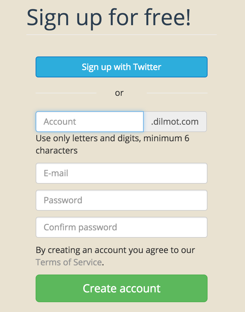 Create a Dilmot account using Twitter authentication