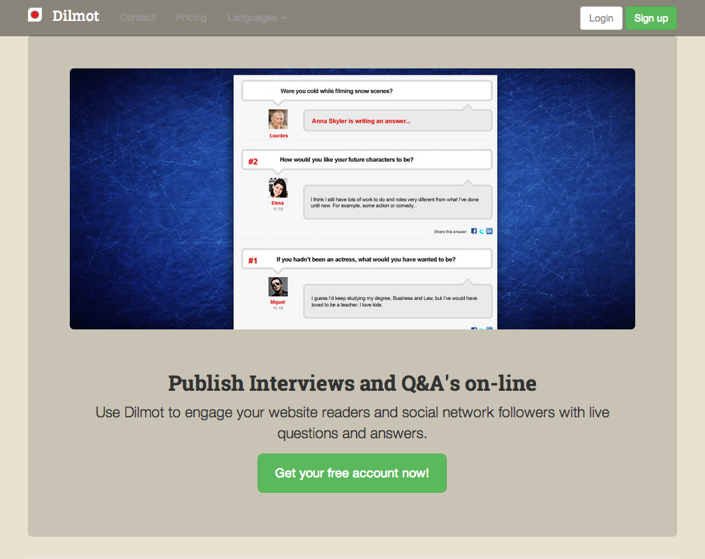 Dilmot is an easy way to publish an interview live in your web