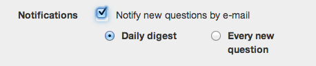 E-mail notification of a new question received in your Dilmot.com Q&A