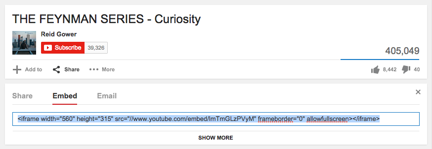 Pick up the embed code from YouTube video > Share > Embed option