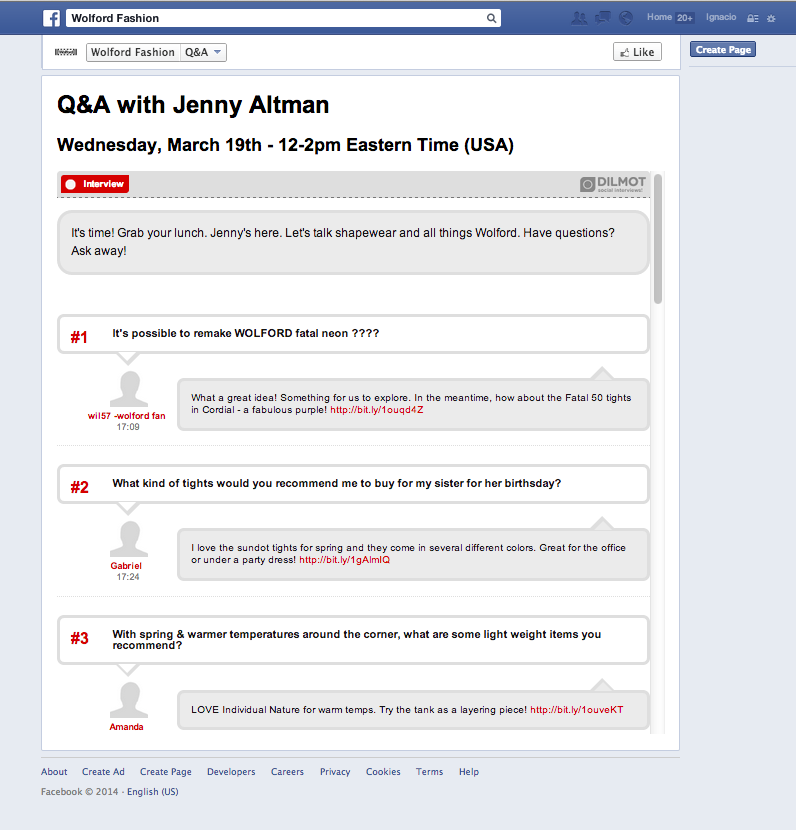 A Q&A session within Facebook, managed with dilmot.com online software