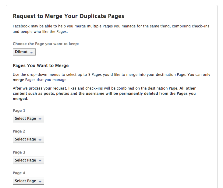 Merge duplicated FB pages into one and migrate the existing fans